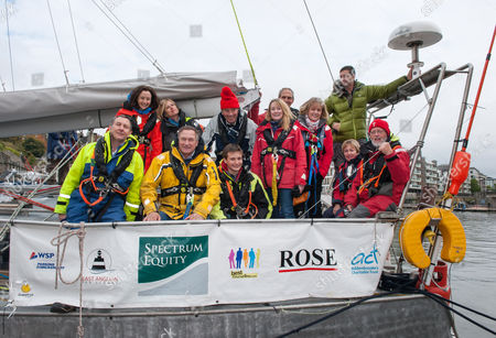 Explorer David Hempleman-Adams (yellow sailing jacket) with Ben Edwards (age 14 from Cambridge) and crew arrive back in Bristol docks after their Arctic voyage, after becoming the first British crew to circumnavigate the North Pole in a single season. They left Bristol in June onboard the polar exploration yacht Northabout and completed the 14,000 miles (22,500km) voyage through the Northeast and Northwest passages in just four months. The challenge has only recently become possible due to retreating sea ice.