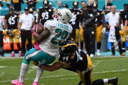 Stock Picture of Tyler Matakevich #44 of Pittsburgh tackles Arian Foster #29 of Miami during the NFL football game between the Miami Dolphins and Pittsburgh Steelers at Sun Life Stadium in Miami Gardens FL. The Dolphins defeated the Steelers 30-15