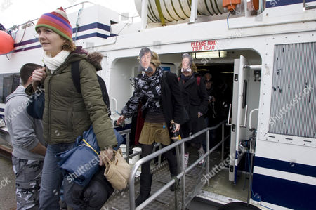 'Father Ted' fans arriving by boat for the inaugural 'Father Ted' festival marking the ninth anniversary of the death of Dermot Morgan, the star of the series.