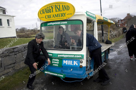 Fans on a milk float that appeared in the programme at the inaugural 'Father Ted' festival marking the ninth anniversary of the death of Dermot Morgan, the star of the series.