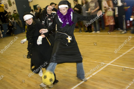 Fans taking part in a 5 a side football game at the inaugural 'Father Ted' festival marking the ninth anniversary of the death of Dermot Morgan, the star of the series.