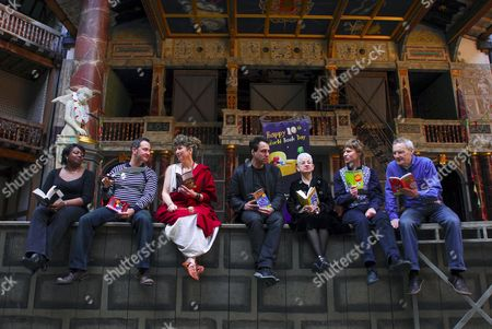 (L to R) Childrens Book authors Malorie Blackman, Justin Somper, Caroline Lawrence, Anthony Horowitz, Jacqueline Wilson, Nick Arnold and Jeremy Strong
