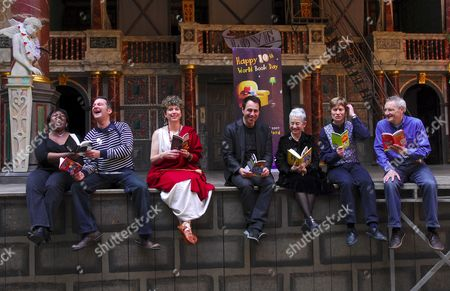 Stock Image of (L to R) Childrens Book authors Malorie Blackman, Justin Somper, Caroline Lawrence, Anthony Horowitz, Jacqueline Wilson, Nick Arnold and Jeremy Strong