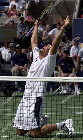 JENSEN Murphy Jensen reacts during a doubles exhibition during Arthur Ashe Kids Day festivities at the National Tennis Center in New York