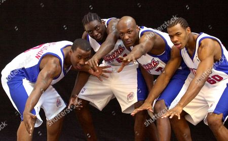 MAGGETTE Los Angeles Clippers, from left, Quentin Richardson, Darius Miles, Lamar Odom and Corey Maggette, pose during the team's media day in Los Angeles