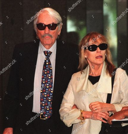 PECK Gregory Peck, left, arrives at a memorial service for actor Walter Matthau with his wife Veronique, in Los Angeles. Matthau died last month of a heart attack at the age of 79