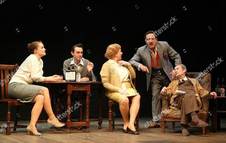 Stock Image of Emma Cunniffe ( Jean ), David Dawson ( Frank ), Pam Ferris ( Phoebe ), Robert Lindsay ( Archie ) and John Normington ( Billy )