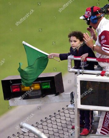EISENBERG Honorary starter and Pepsi spokesmodel Hallie Eisenberg waves the green flag to start the NASCAR Pepsi 400, at the Daytona International Speedway in Daytona Beach, Fla