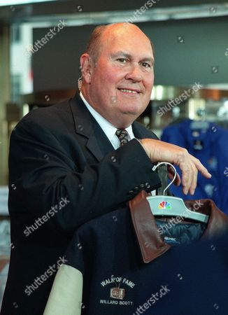 "SCOTT Willard Scott pauses after a ceremony inducting Scott into NBC's ""Walk of Fame"" at the NBC Experience Store in New York . This year marks Scott's 50th anniversary with NBC"