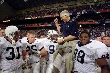 Jerry Sandusky Penn State defensive coordinator Jerry Sandusky is carried by players Rick Bolinsky (92), center, and Jason Wallace (88), right, after they defeated Texas A&M in the Alamo Bowl, in San Antonio, Tex