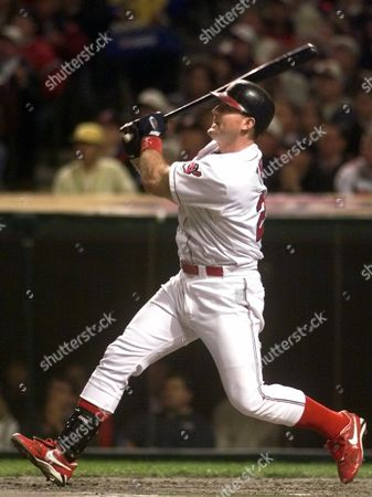 THOME Cleveland Indians slugger Jim Thome hits a two-run home run off Bret Saberhagen of the Boston Red Sox in the first inning of Game 5 of the AL Division Series in Cleveland