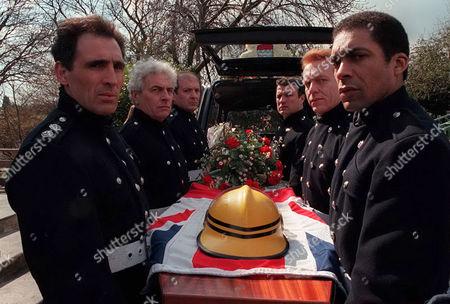 'London's Burning' - The funeral of Sub Officer John Hallam - Andrew Kazamia, James Hazeldine, Richard Walsh, Glen Murphy, Clive Wood and Ben Onwukwe
