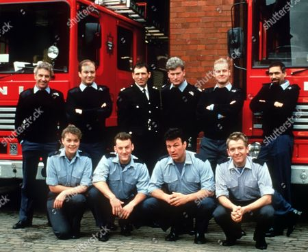 'London's Burning' - back row left to right: James Hazeldine, Richard Walsh, Andrew Kazamia, Sean Blowers, Rupert Baker, Ben Onukwe. Front row left to right: Samantha Beckinsale, Ross Boatman, Glen Murphy and Stephen North