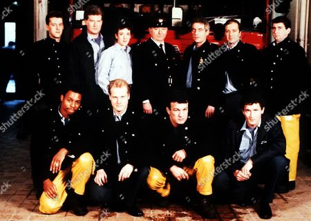 'London's Burning' - 1996 - Ross Boatman, Sean Blowers, Katherine Rogers, James Marcus, James Hazeldine, Richard Walsh, Gerard Horan. Front Row Treva Etienne, Rupert Baker, Glen Murphy and Mark Arden.