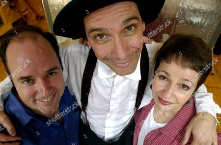"""FLAHERTY SHINER AHRENS Composer Stephen Flaherty, left, actor David Shiner and lyricist Lynn Ahrens pose at a studio in New York following a rehearsal for the new musical """"Seussical"""" . The show opens on Broadway Nov. 30"""
