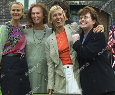 RICHARDS Hall of Fame inductee Martina Navratilova, second from right, laughs with tennis legend Billie Jean King during a group photo with Navratilova's former doubles partner, Pam Shriver, far left, and former coach, Dr. Renee Richards, after enshrinement ceremonies at the International Tennis Hall of Fame in Newport, R.I