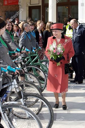 Queen Elizabeth ll visits the Theatre Royal in Brighton to mark the 200th anniversary of the Theatre. After a special performance inside the Queen and Prince Philip watched a Bicycle Ballet in the street outside before walking to the Jubilee Library. HM The Queen visits the Theatre Royal in Brighton to mark the 200th anniversary of the Theatre. After a special performance inside the Queen and the Duke of Edinburgh watched a Bicycle Ballet in the street outside before walking to the Jubilee Library. Photo by Ian Jones