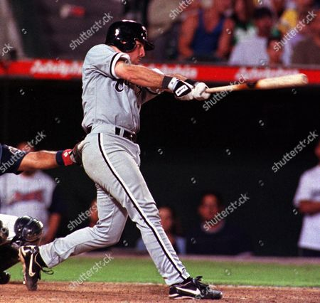 JOHNSON Chicago White Sox' Mark Johnson hits a two-out, two-run double in the ninth inning to tie the game against the Anaheim Angels, in Anaheim, Calif. The White Sox won 11-7 in 10 innings