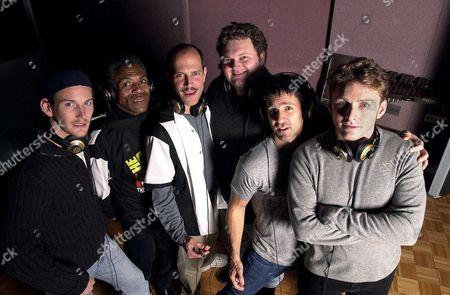 """DANIELEY Cast members from the Broadway musical, """"The Full Monty,"""" from left Patrick Wilson, Andre De Shields, Marcus Neville, John Ellison Conlee, Romain Fruge and Jason Danieley, gather at the Edison recording studio in New York, . The group was recording the original cast album for the hit musical, based on the 1998 British film"""