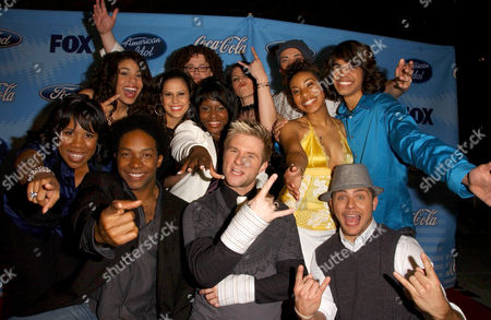 Back row: Chris Sligh, Gina Glocksen, Phil Stacey, Middle row: Jordin Sparks, Haley Scarnato, Lakisha Jones, Stephanie Edwards, Sanjaya Malakar, Front row: Melinda Doolittle, Brandon Rogers, Blake Lewis and Chris Richardson