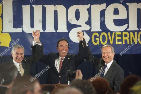 Editorial photo of Attorney General Dan Lungren and Gov. Pete Wilson with Former Gov. George Deukmejian, Long Beach, USA