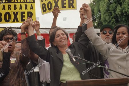 Barbara Boxer Democratic U.S. Senate candidate Barbara Boxer holds hands with supporters, Barbara Boudreaux, left, with the Los Angeles Unified School District and Yvonne Brathwaite Burke, Los Angeles county supervisor, during a rally, in Los Angeles. At lower left is Michella Alioto, the Democratic nominee for Secretary of State