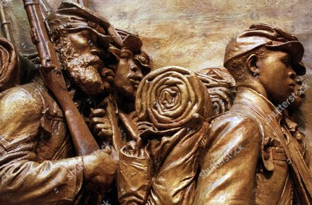 Close-up of the plaster copy, painted to look like bronze, of Augustus St. Gaudens' memorial to Col. Robert Gould Shaw and his 54th Massachusetts Regiment, shown at the National Gallery of Art in Washington. The sculpture, the original of which is located in Boston, honors black troops and the white officer who fought and died with them, for the Union and against slavery. The piece goes on official display Sunday Sept. 21 at the gallery