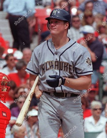 ABBOTT Milwaukee Brewers pitcher Jim Abbott steps out of the batters box during his second major league at bat against the St. Louis Cardinals, at Busch Stadium in St. Louis. Abbott made his National League debut Thursday after eight years in the American League. Abbott, a left-handed pitcher, has only one hand