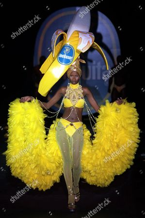 """CHIQUITE BANANA Stacey McKenzie models an outfit designed by Nicholas Grahm for Joe Boxer during a thematic fashion show based on the """"Miss Chiquita Banana"""" icon in New York, . The show was held to celebrate Chiquita Banana, Inc.'s 100th anniversary"""