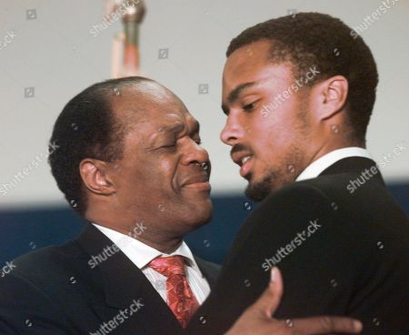 Stock Image of Marion Barry, Christopher Barry Then-Washington Mayor Marion Barry hugs his son Christopher in Washington. The son of former District of Columbia mayor and current Council member Marion Barry faces a drug-dealing charge after police say they found PCP and marijuana in his apartment