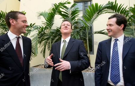 James Murdoch, Chief Executive of BSkyB, Conservative party leader David Cameron and George Osborne, Conservative party Shadow Chancellor Of The Exchequer