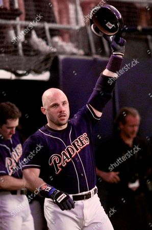 LEYRITZ San Diego Padres Jim Leyritz acknowledges the crowd after his homerun against Atlanta Braves pitcher Denny Neagle in the 6th inning of Game 4 of the National League Championship Series at San Diego's Qualcomm Stadium