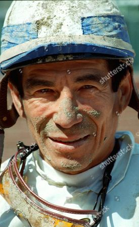 PINCAY Laffit Picany Jr. pauses after a race at Hollywood Park in Inglewood, Calif. Although Pincay did not win that particular race, he is just 208 wins away from Bill Shoemaker's all-time record of 8,833 victories