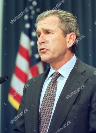 Stock Picture of GEORGE W. BUSH Texas Gov. George W. Bush speaks during a news conference, in Austin, Texas. Bush said he would not grant a 30 day delay in the scheduled execution of Karla Faye Tucker