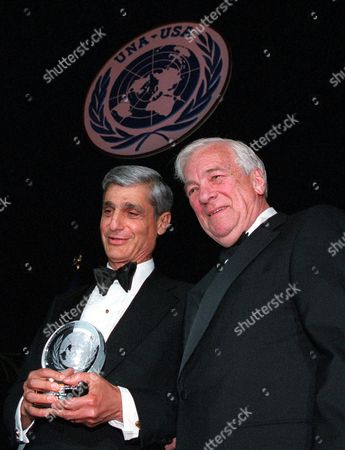 Stock Image of RUBIN WHITEHEAD U.S. Treasury Secretary Robert Rubin, left, receives a Global Leadership award from John C. Whitehead, chairman of the U.N. Association of the United States, in New York's Waldorf Astoria Hotel . Rubin was honored by the foundation, which works with U.N. and international officials in an effort to find places where it can help United Nations causes, for his stewardship of the United States and global economies