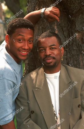 "KAIN BURTON Actor-director LeVar Burton, right, poses with actor Khalil Kain in the Sherman Oaks area of Los Angeles, . Burton directs Kain, who will play Tiger Woods in the Showtime movie ""The Tiger Woods Story "" which premieres April 12"