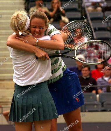 NOVOTNA DAVENPORT Lindsay Davenport of Newport Beach, Ca., hugs her doubles partner Jana Novotna of the Czech Republic, after defeating Gigi Fernandez of Aspen, Colo., and Natasha Zvereva of Belarus, in the women's doubles finals at the U.S. Open in New York . Davenport and Novotna won the match 6-3, 6-4