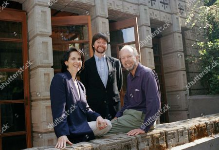 Eric Lloyd Wright, right, grandson of famed architect Frank Lloyd Wright, with Lynn Novick, left, and filmmaker Ken Burns are at the Wright-designed Millard House in Pasadena, Calif