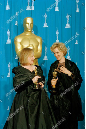 Stock Photo of Watchf Associated Press Domestic News Entertainment California United States APHS38281 ACADEMY AWARDS Best supporting actress Diane Wiest, left, and best actress Jessica Lange at the Academy Awards at Dorothy Chandler Pavilion in Los Angeles, Calf