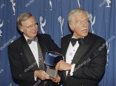 Bill Moyers, left, and Dick Van Dyke pose for pictures backstage at the 11th Annual Television Academy Hall of Fame ceremonies on in Los Angeles. Moyers and Van Dyke were among the inducties