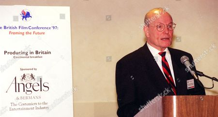 Stock Photo of SAMUELSON Sir Sydney Samuelson, British Film Commissioner speaks at a news conference in Burbank, Calif., Thursday, March, 13, 1997 during the British Film Commission conference on the Warner Bros. studio lot