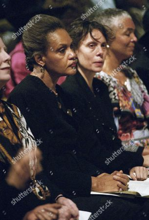 "CBS News Correspondant Charlayne Hunter-Gault, left, and Emily Mann, center, attend funeral services for 104-year-old Dr. Bessie Delany at the Cathedral of St. John the Divine in New York, on . Delany, along with her Sister Sadie, 106, won fame after age 100 with two books. One book, ""Having Our Say: The Delany Sisters First 100 Years,"" was adapted by Mann for a Broadway play"