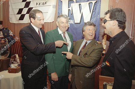 Watchf Associated Press Sports Auto Racing New York United States APHS35639 RACE CAR DRIVERS Race car drivers Dale Earnhardt, left; Bobby Allison, second from left; Mario Andretti, second from right; and Ernie Irvan, joke around during the Drive of the Year luncheon New York . Earnhardt, the 1994 NASCAR Winstor Cup Champion, was honored as the 1994 Driver of the year. Andretti received the Economaki Lifetime Achievement Award while Irvan was honored as the 1994 first quarter DOY winner