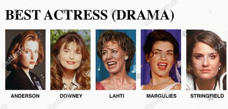 """FILE--The 49th Annual Primetime Emmy Awards in 28 major categories will be televised by CBS-TV . The Emmy nominees for best lead dramatic actress are from left: Gillian Anderson of ''The X-Files,'' Fox; Roma Downey of ''Touched by an Angel,'' CBS; Christine Lahti of ''Chicago Hope,'' CBS; Julianna Margulies of """"E.R.,"""" NBC; and Sherry Stringfield of """"E.R."""" NBC"""