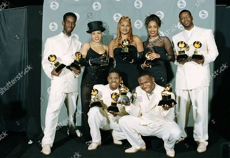 The women of Salt-N-Pepa pose with the group Boyz II Men with their Grammys at the 37th annual Grammy Awards in Los Angeles, Ca., . Salt-N-Pepa won for rap duo or group performance, and Boys II Men won for best rhythm and blues album and for best duo or vocal performance. The trio, from left, are, Cheryl James, Sandy Denton and Dede Roper. The members of Boyz II Men, from left, are, Shawn Stockman, Nate Morris, Wanya Morris and Michael S. McCary
