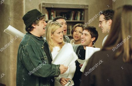 Jenny McCarthy, Joh n Enns, Michael LoPrete, Lou Thornton, Paul Greenberg Jenny McCarthy, second from left, rehearses a scene on the Jenny McCarthy Show on in Burbank, California. In this skit McCarthy is unpleasantly surprised after her father throws a surprise party celebrating her first period. From left are John Ennis, playing the father, McCarthy, Michael LoPrete, Lou Thornton and Paul Greenberg