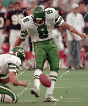 Stock Image of LOWERY New York Jets kicker Nick Lowery kicks a 29-yard field goal in the first quarter, against the Cincinnati Bengals in Cincinnati. Lowery was successful on all five of his field goal attempts as the Jets won 30-24