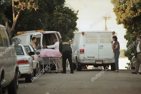 Coroners Officer personnel load up the body of 41-year-old actress-model Margaux Hemingway outside her apartment of Fraser St. in Santa Monica, California on . Hemingway's body was discovered by workers on Monday, after concerned friend had not heard from her since last Friday
