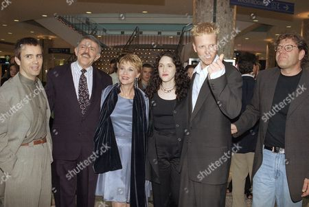 "Cast members of the movie ""The Frighteners,"" from left, Jeffrey Combs, John Astin, Dee Wallace Stone, Trini Alvarado, Jake Busey, and the film's executive producer Robert Zemeckis, pose at the premiere on in Universal City, California. The movie stars Michael J. Fox"