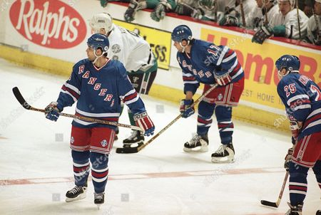 Stock Picture of Chris Ferraro, Peter Ferraro New York Rangers center Chris Ferraro, front, and his brother and teammate Peter Ferraro during a game against the Anaheim Mighty Ducks at the Arrowhead Pond of Anaheim, California on